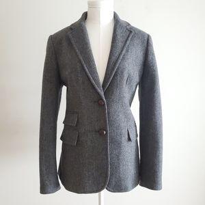 J crew herringbone dark grey wool jacket